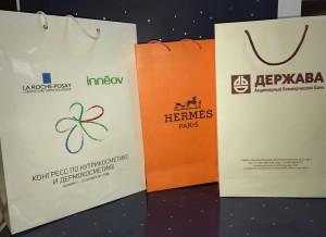 Бумажные пакеты с логотипом и текстом