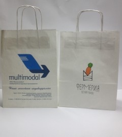 Белые крафт пакеты с логотипами multimodal, Фермерия
